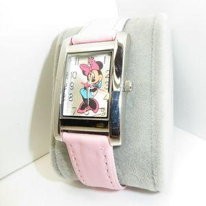 Womens Ladies Minnie Mouse Pink Disney Watch EUC